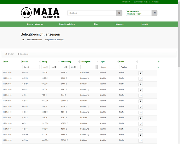 MAIA Kassensystem (POS) - On-Premise-Version
